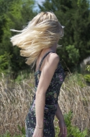 Hair blowing in the field