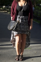 City Outfit, burgundy and black