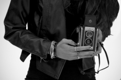 black and white polaroid camera